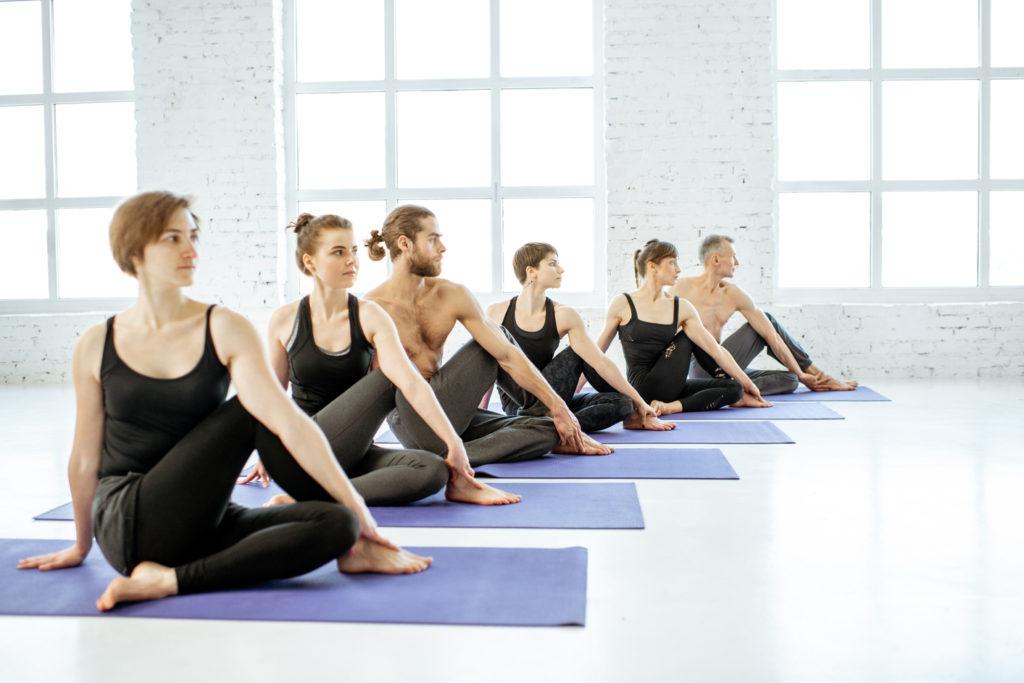 people-practising-Iyengar-yoga-slow-easy-beginner
